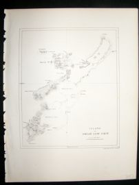 Japan Perry Expedition 1856 Antique Map. Islands of Great Lew Chew